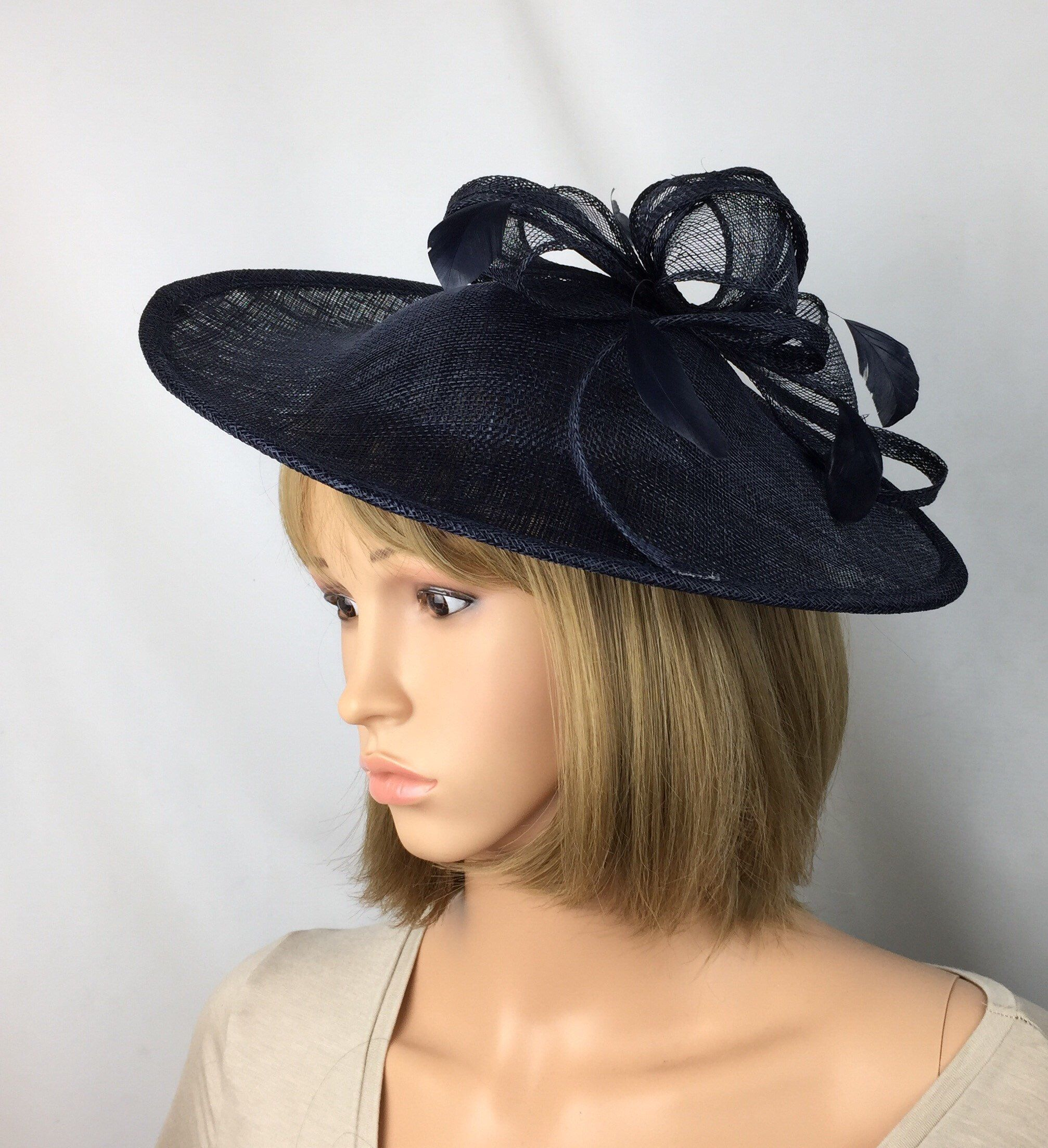 BLACK ASCOT WEDDING DISC HATINATOR HAT OCCASION FORMAL MOTHER OF THE BRIDE