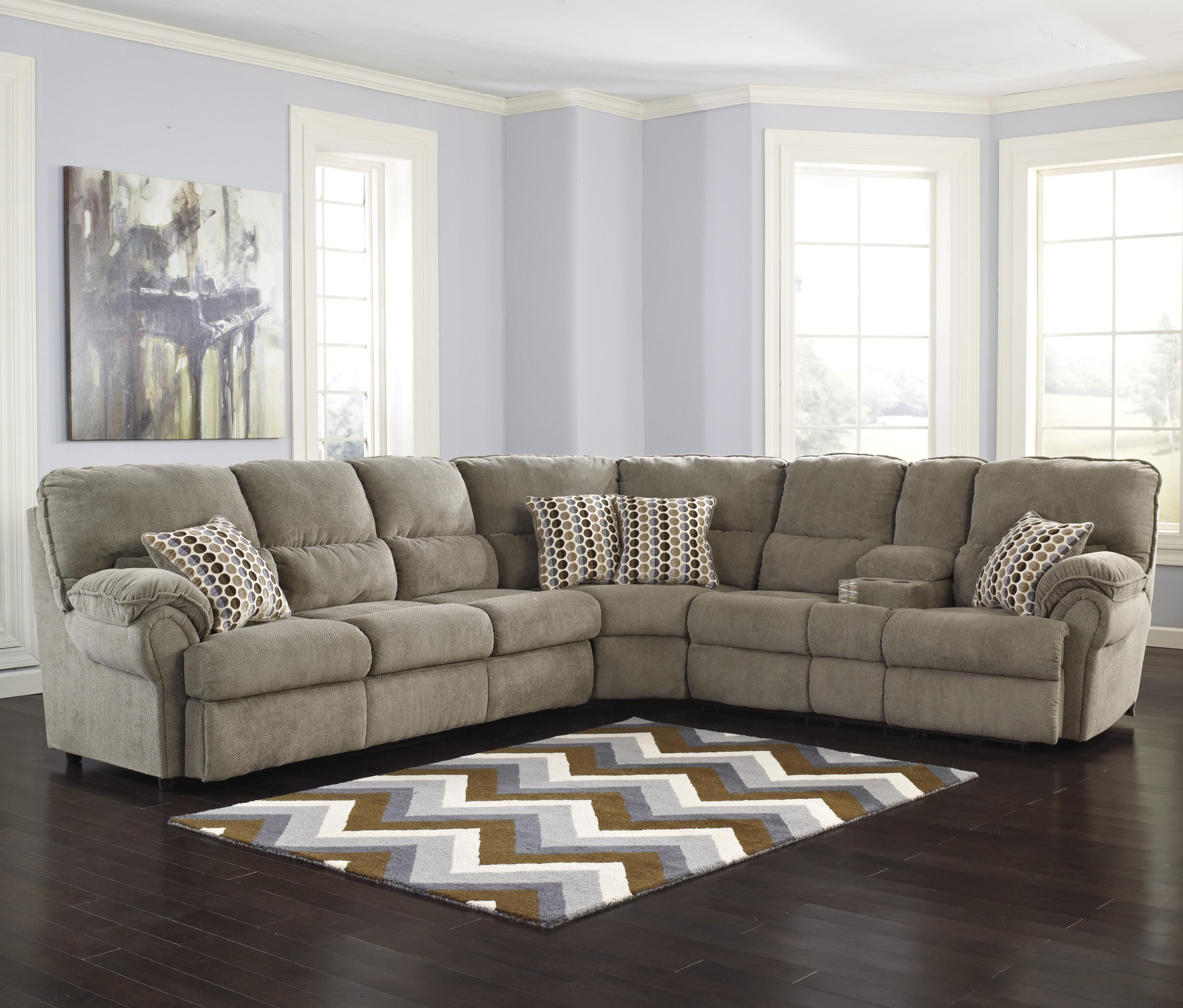Signature Design By Ashley Comfort Commandor Mocha Sectional W Reclining Loveseat With Console Left Sleeper Sofa Ahfa