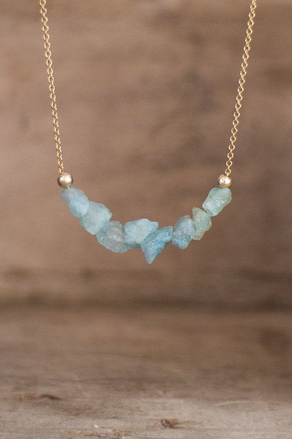 Photo of Raw Aquamarine Necklace, Birthstone Jewelry, Crystal Necklace, Throat Chakra Necklace, Scorpio Necklace, Raw Stone Jewelry Gift