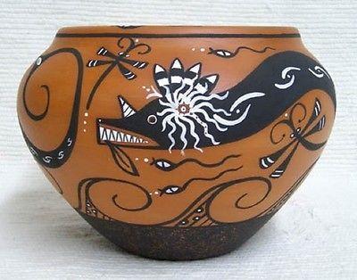 Zuni Indian Handbuilt Handpainted Water Serpent Pottery by Priscilla Peynetsa in…