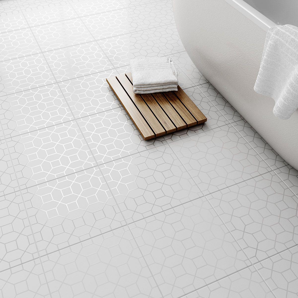 Laura Ashley Marise white floor tile 331mm x 331mm | Bathroom ...