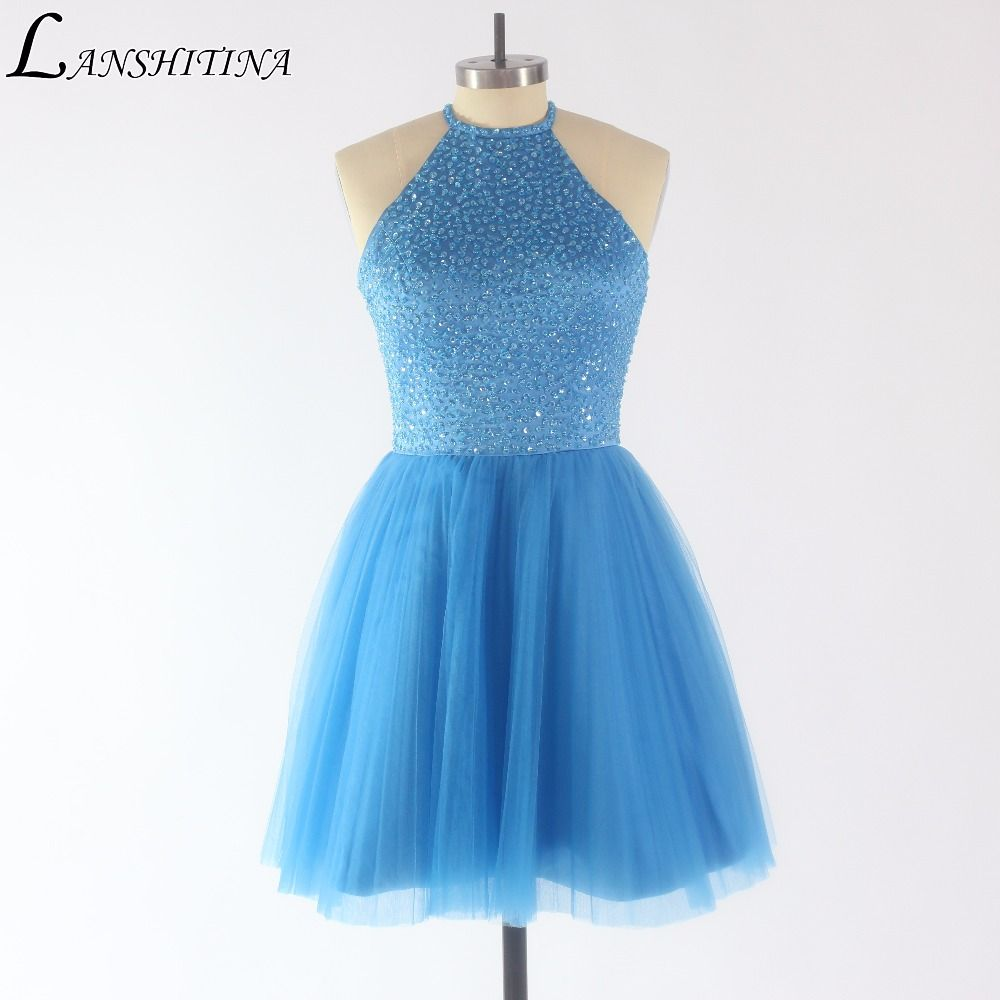 New Arrival Pretty Purple Tulle Beading Top Short Prom Dresses 2017 ...