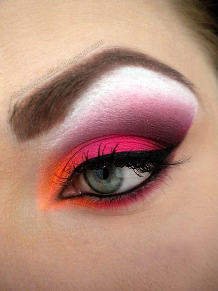 Neon MakeUp Rosa e Laranja  (sugestão: sombras Colombina)
