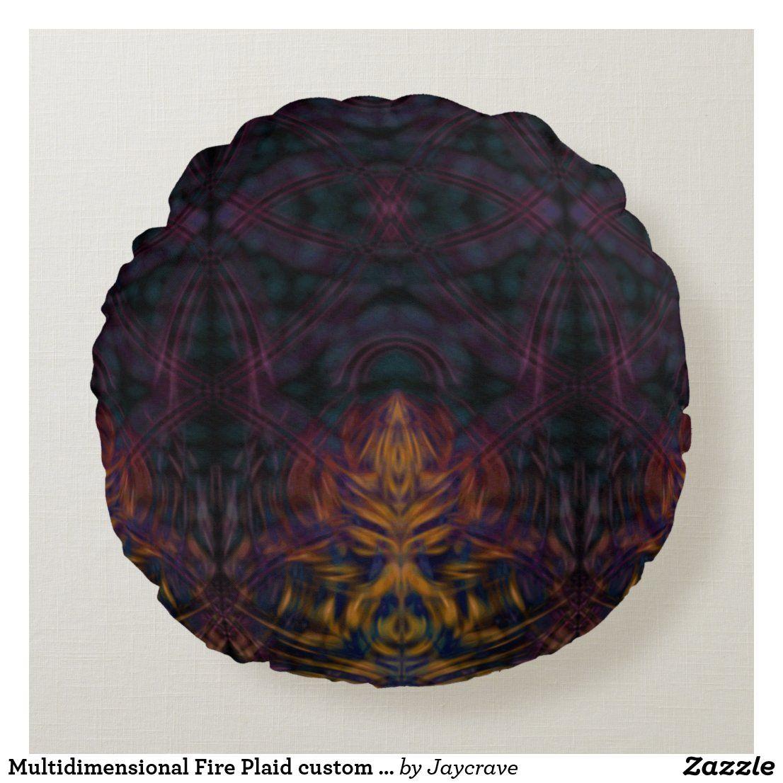 Multidimensional Fire Plaid custom gradient diy Round Pillow