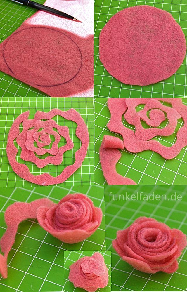 Anleitung Deko Rosen Aus Filz Basteln Fabric Flowers Diy Felt