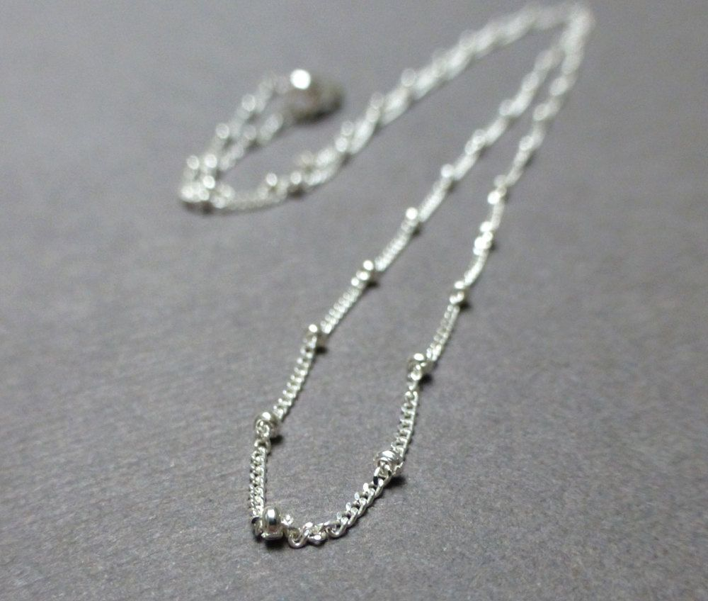 Sterling Silver 1mm Beaded Necklace