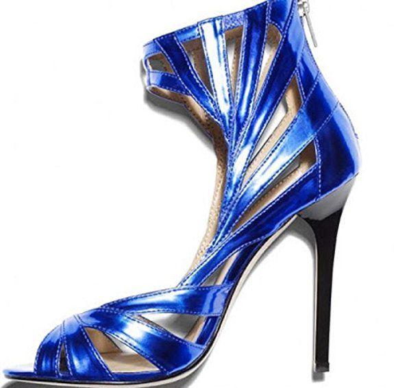 Jimmy Choo Metallic Electric Blue käfigbetten Stiletto 's, Blau - Electric Blue Patent - Größe: 39.5