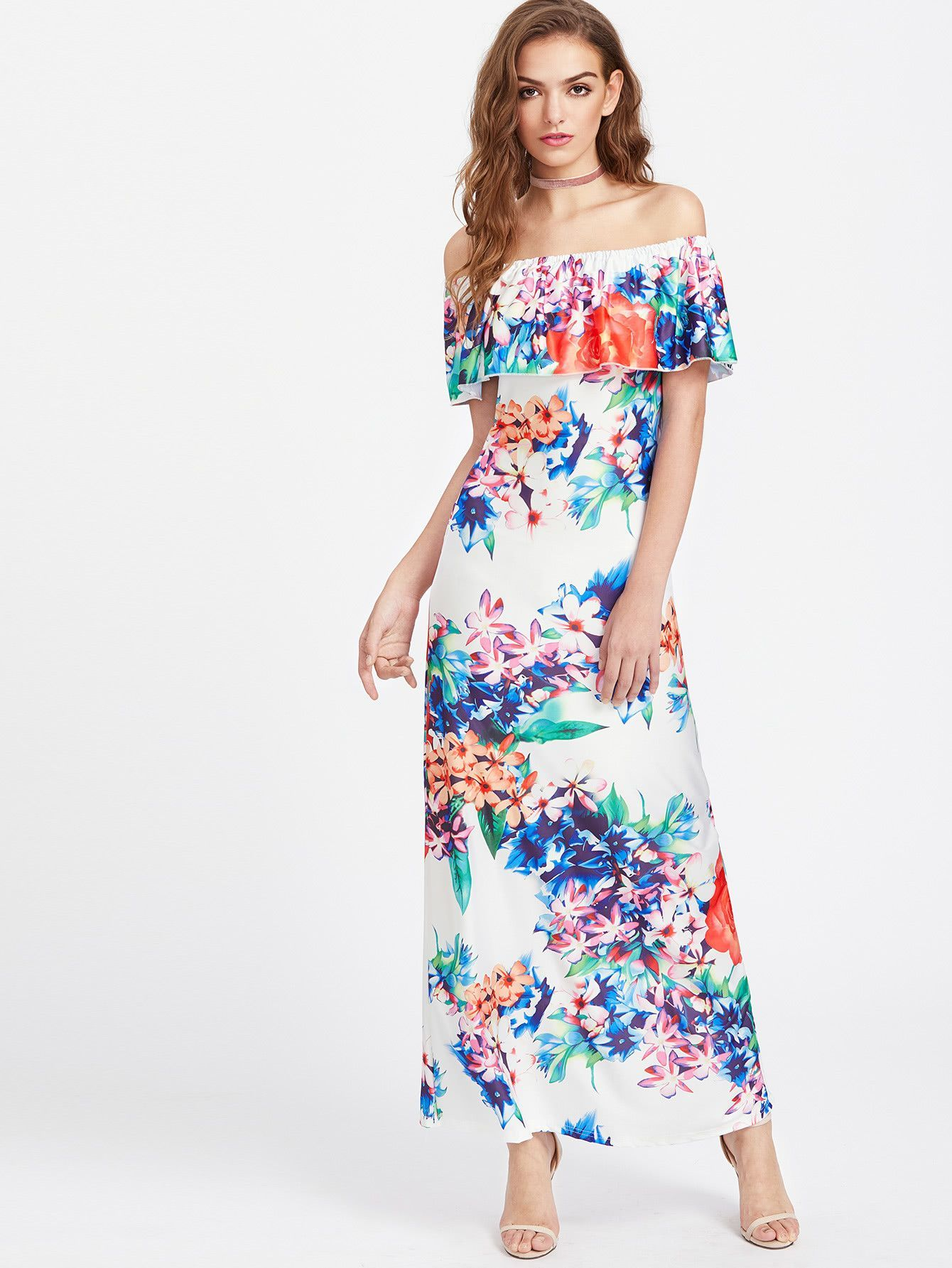 b8012c8addd747 White Floral Print Layered Off Shoulder Maxi Dress in 2019