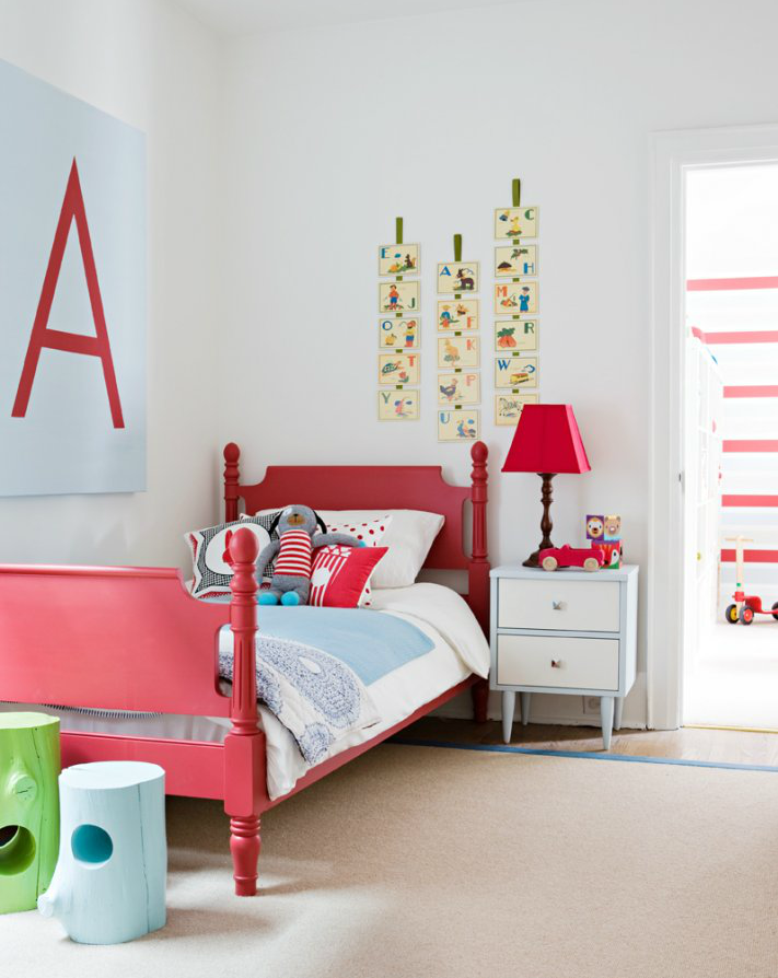 Red bedroom love the stools and