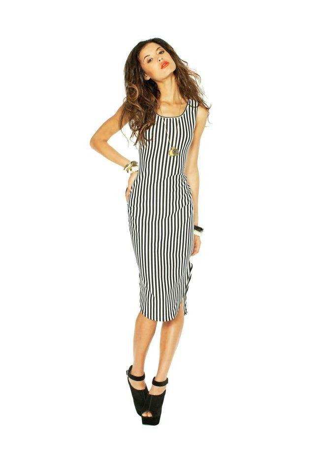 Black and White Striped Bodycon Dress BLQ Market - A La Mode