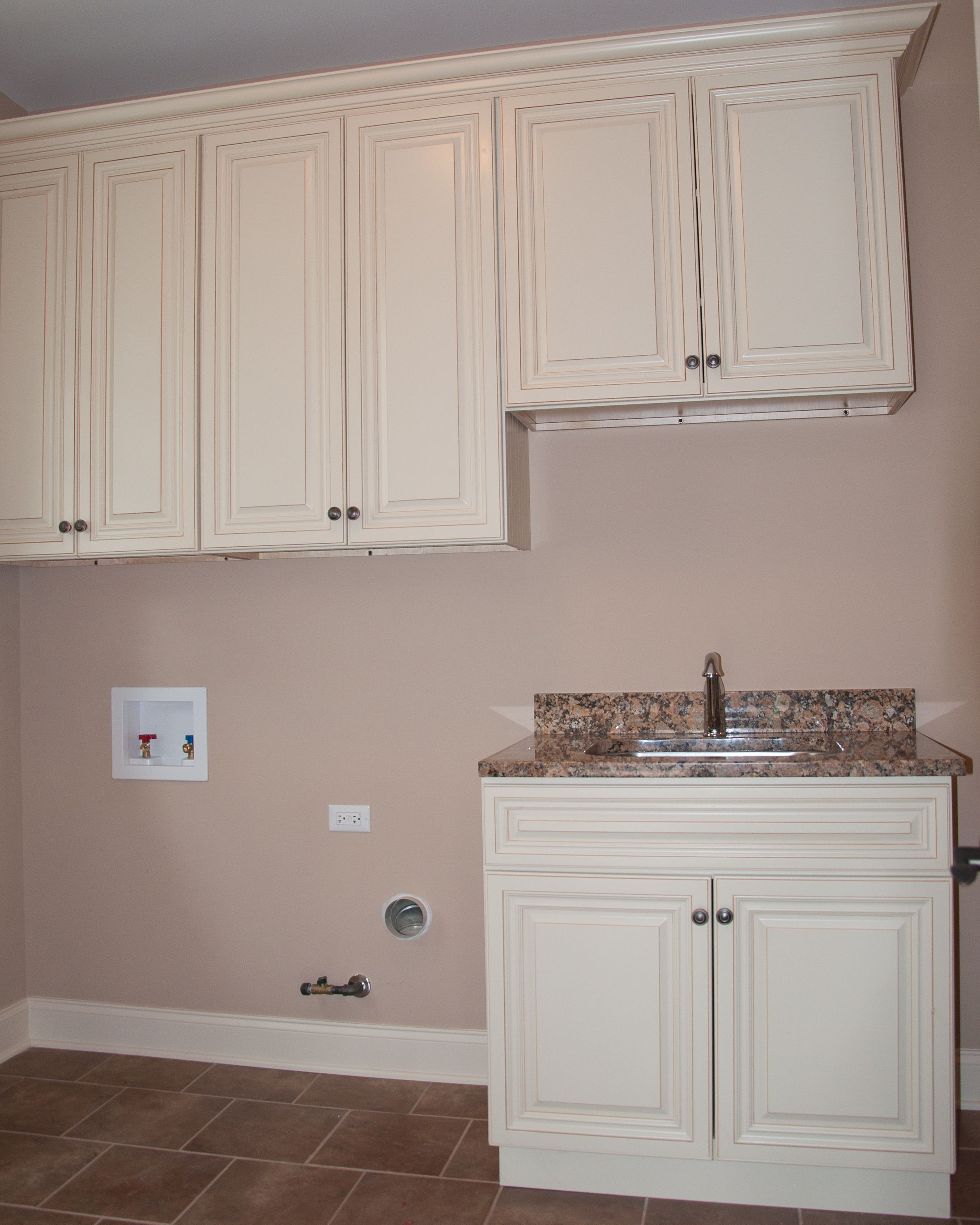 Painted Off White Cabinets For Laundry! Builders Always Seem To Put In  Bright White