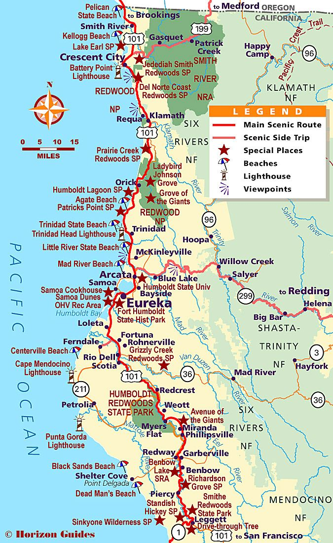 Map Of Redwood National And State Parks In California - Us map with national and state parks