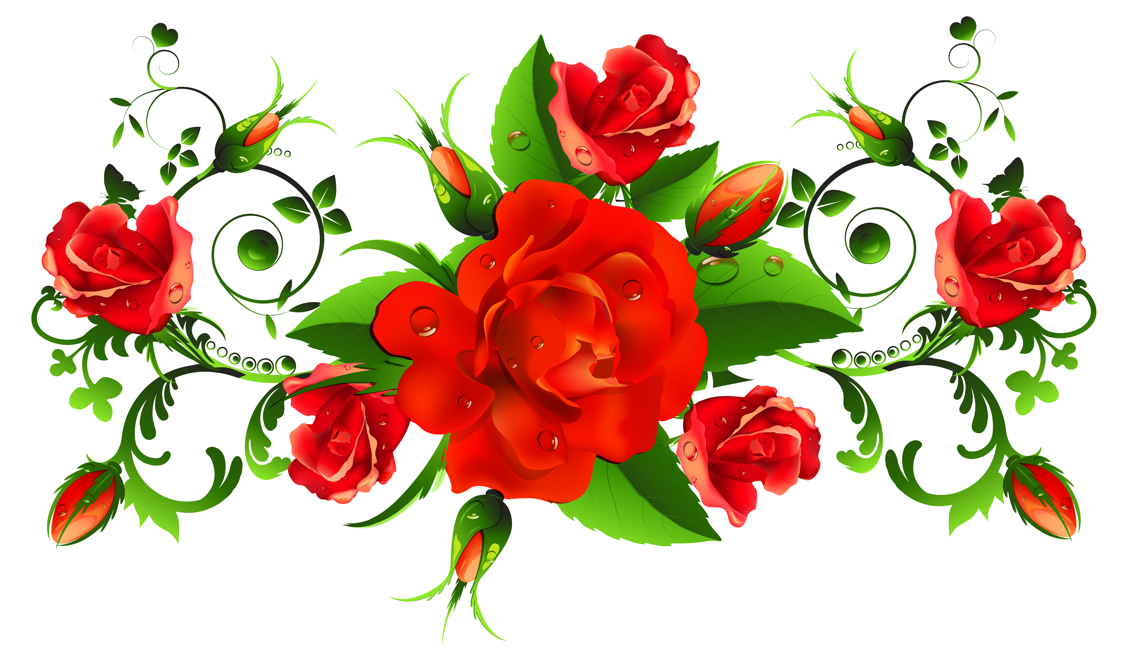 Red Roses Clipart Arte Con Flores Flores Pintadas Enredadera De Rosas