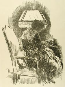 Mrs. Hassam Knitting, Childe Hassam, 1918, lithograph on paper, 12 in. x 9 in. Currier Museum of Art.