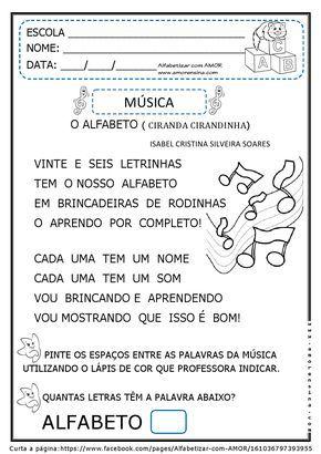 Alfabetizar Com Amor Musica Para Introduzir O Alfabeto