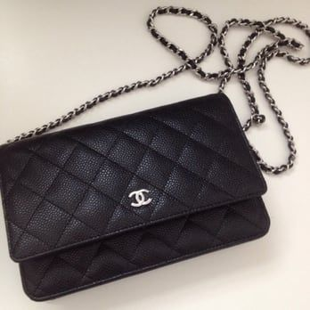 5a7a203e6f99 Long chain length (cross body). Chanel wallet on chain in classic quilt black  caviar with silver hardware - Yelp