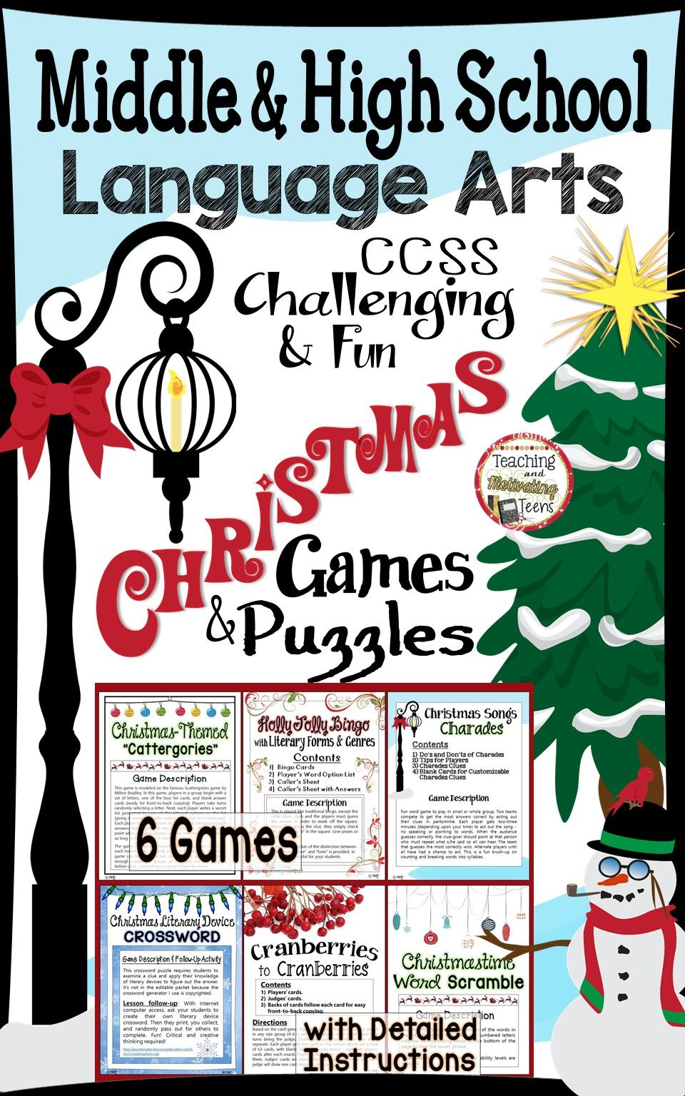 Christmas Games For Middle High School Language Arts Challenging