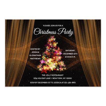 Elegant Christmas Party Gold Twinkle Lights Tree Invitation