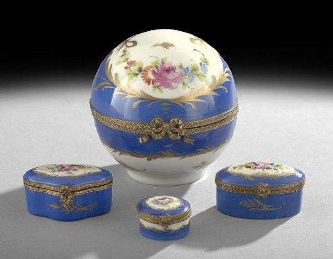 Four Limoges ~France - Porcelain Dresser Boxes