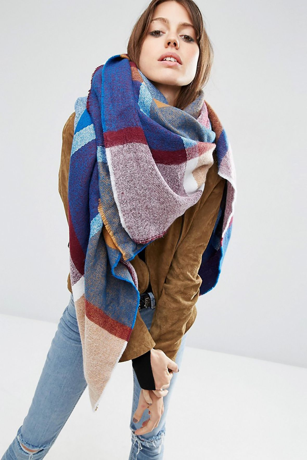 Oversized Square Scarf In 70s Woven Check How to wear a
