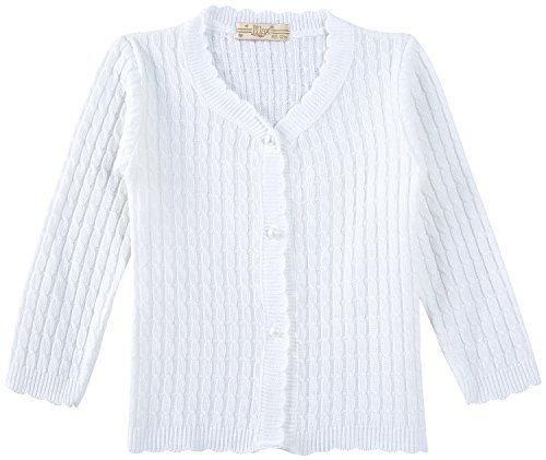 Lilax Baby Girls Cableknit Cardigan Sweater 12m White Click