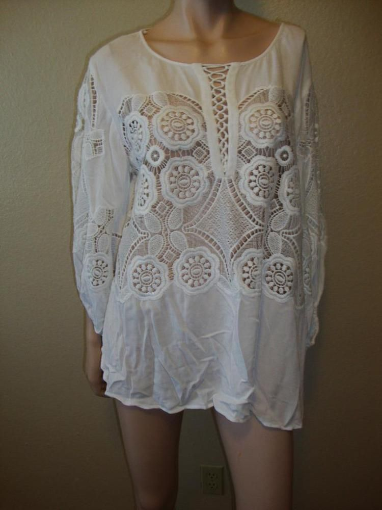 liberty garden long sleeve lace creme top blouse size m libertygarden blouse casual - Liberty Garden
