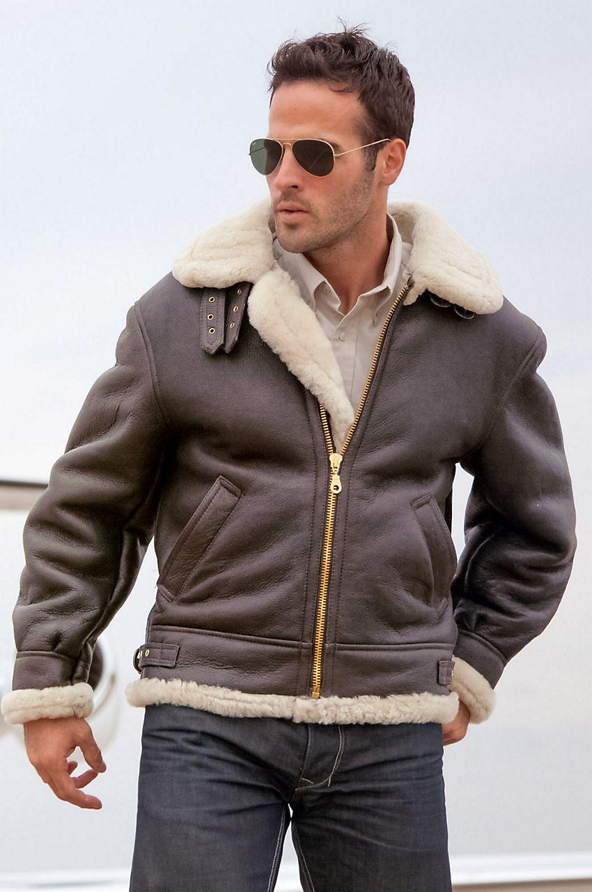 Classic Sheepskin B3 Bomber Jacket with Detachable Hood