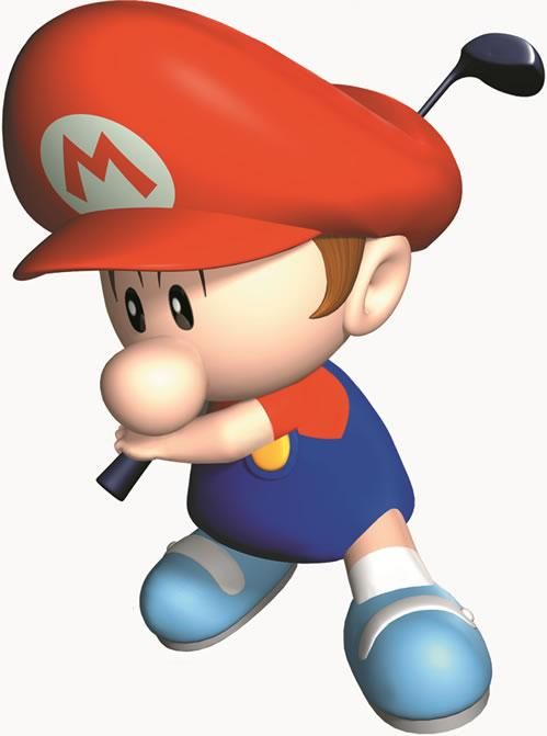 Baby Mario Prepares To Take A Swing From The Official Artwork Set For Mariogolf64 On The N64 Mariogolf Mario Nintend Mario Mario And Luigi Mario Kart Wii