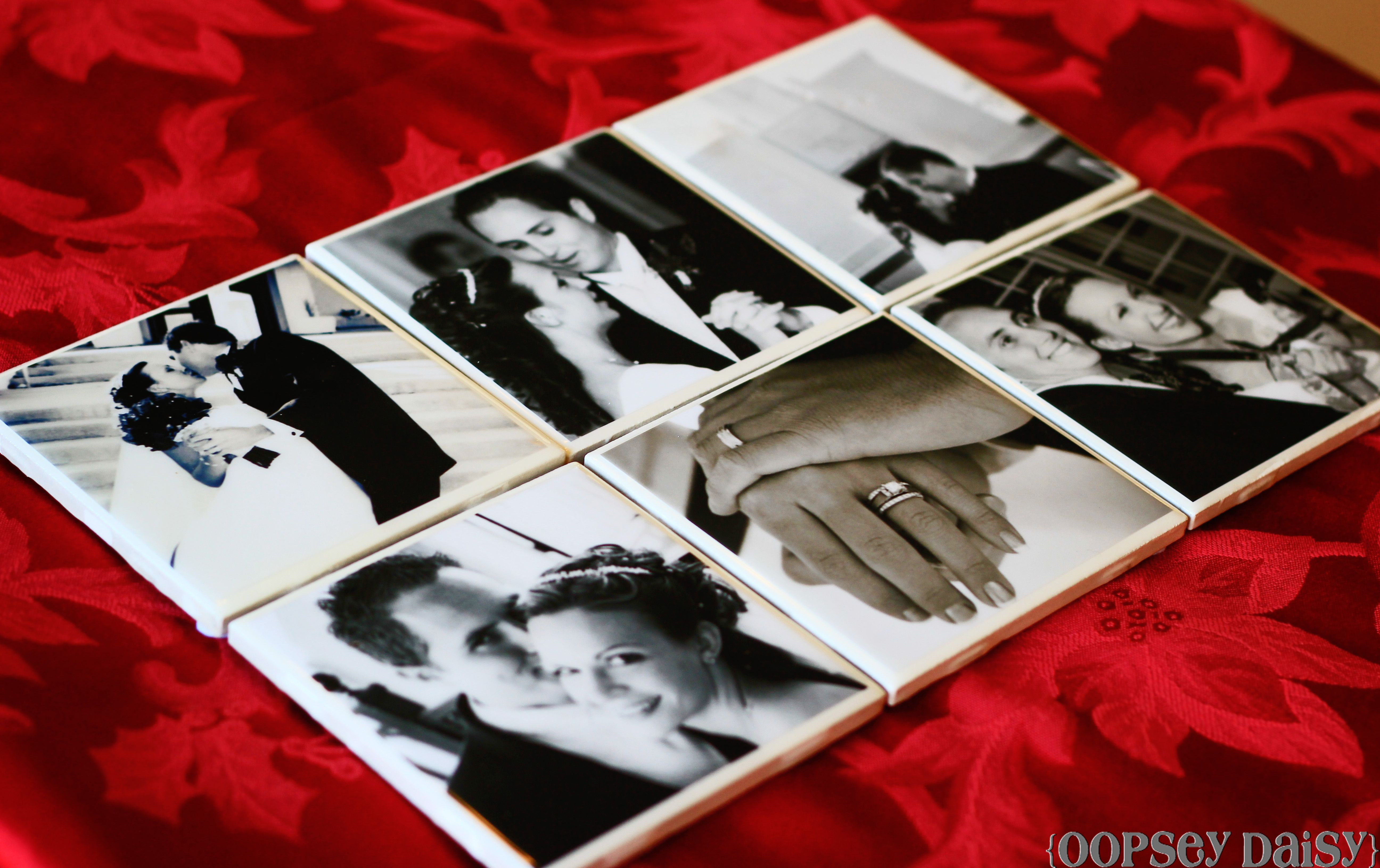 """""""before"""" Wedding Picture Coasters At Reserved Table"""