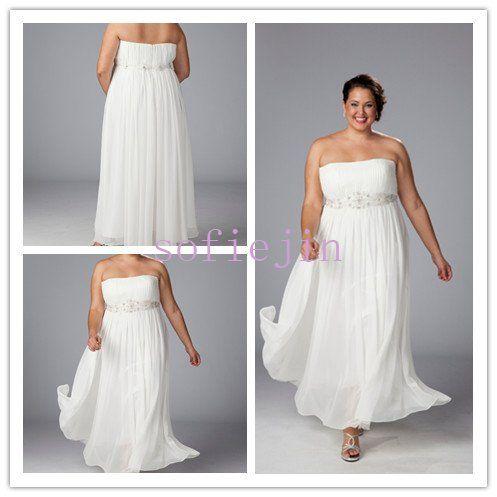 Elegant chiffon ankle length casual beach wedding dresses for Destination plus size wedding dresses