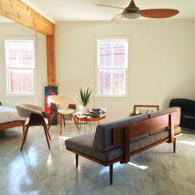 Mid Century Modern Daybed With Floating Side Tables Casara Modern