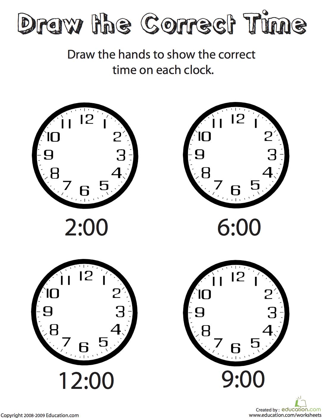 Draw The Correct Time Ii Worksheet Education Com Belajar Dapat Dicetak Pencetakan [ 1406 x 1086 Pixel ]