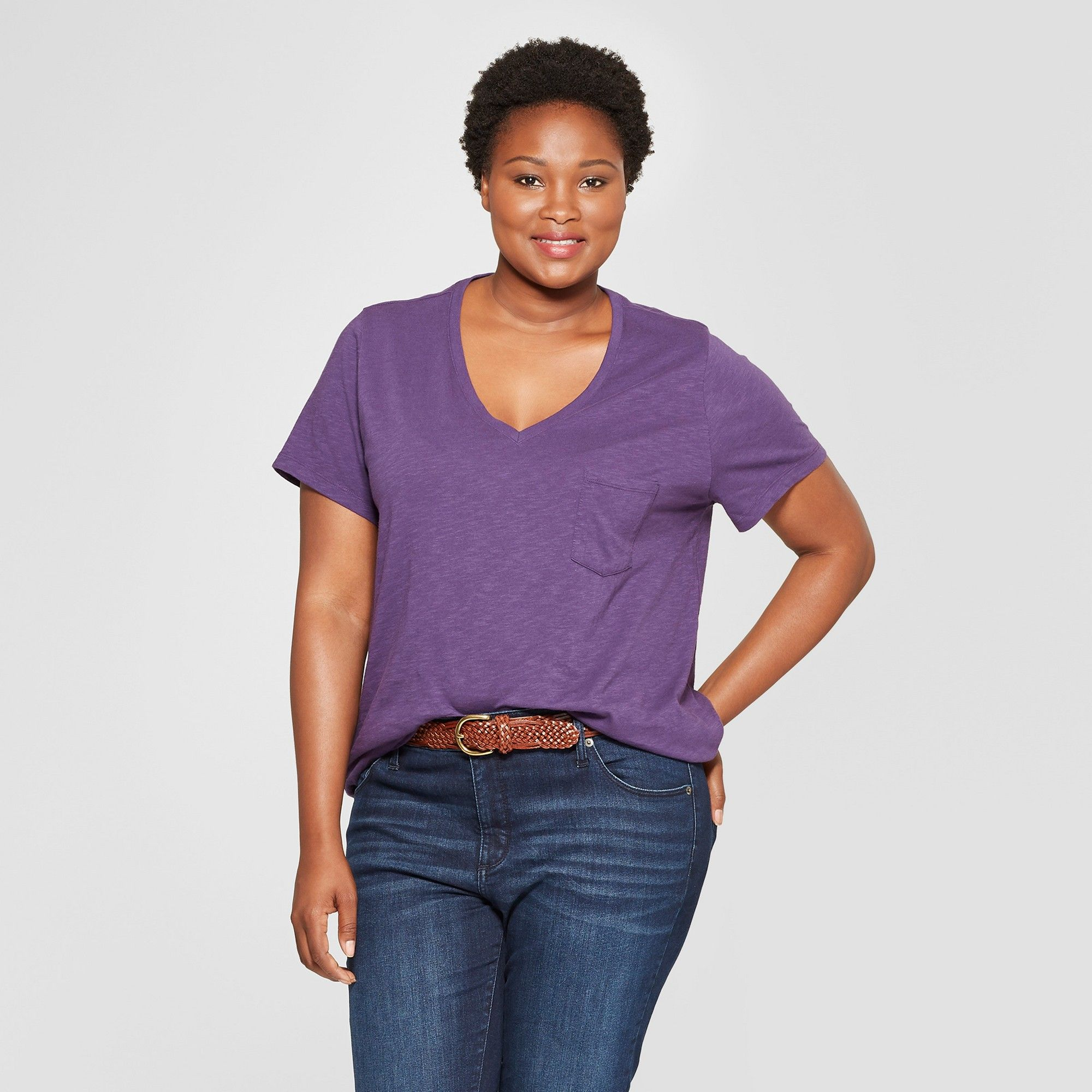 a4ae165678 Women's Plus Size Monterey Pocket V-Neck Short Sleeve T-Shirt ...