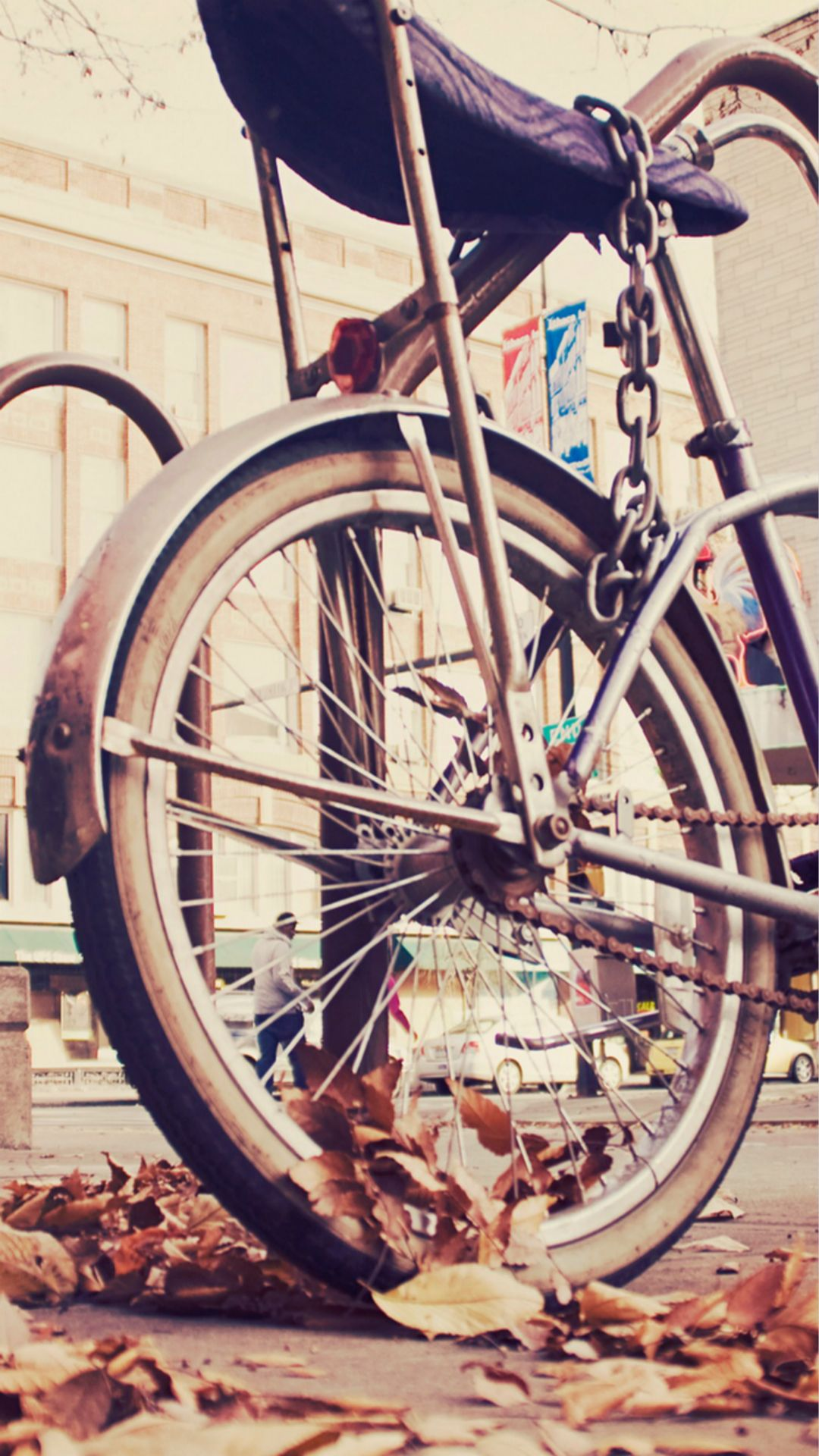 Vintage Hipster Bike Chained iPhone 8 Wallpapers Iphone