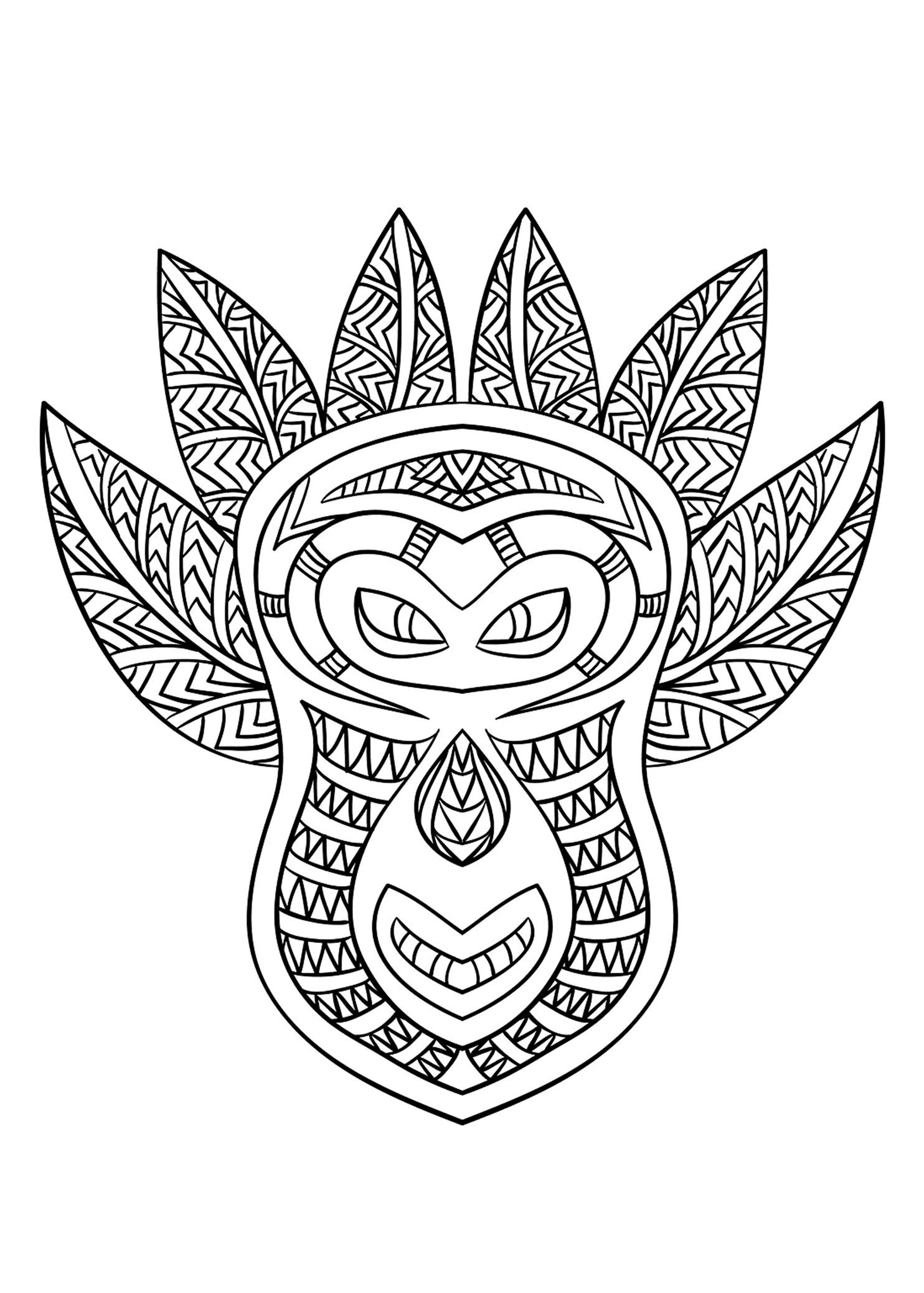 Free coloring page coloring-adult-african-mask-6. Coloring
