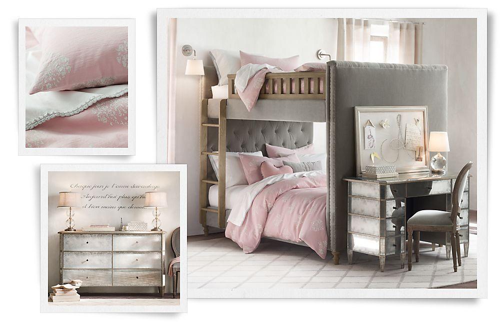 Leuke meidenkamer in de combinatie grijs en roze
