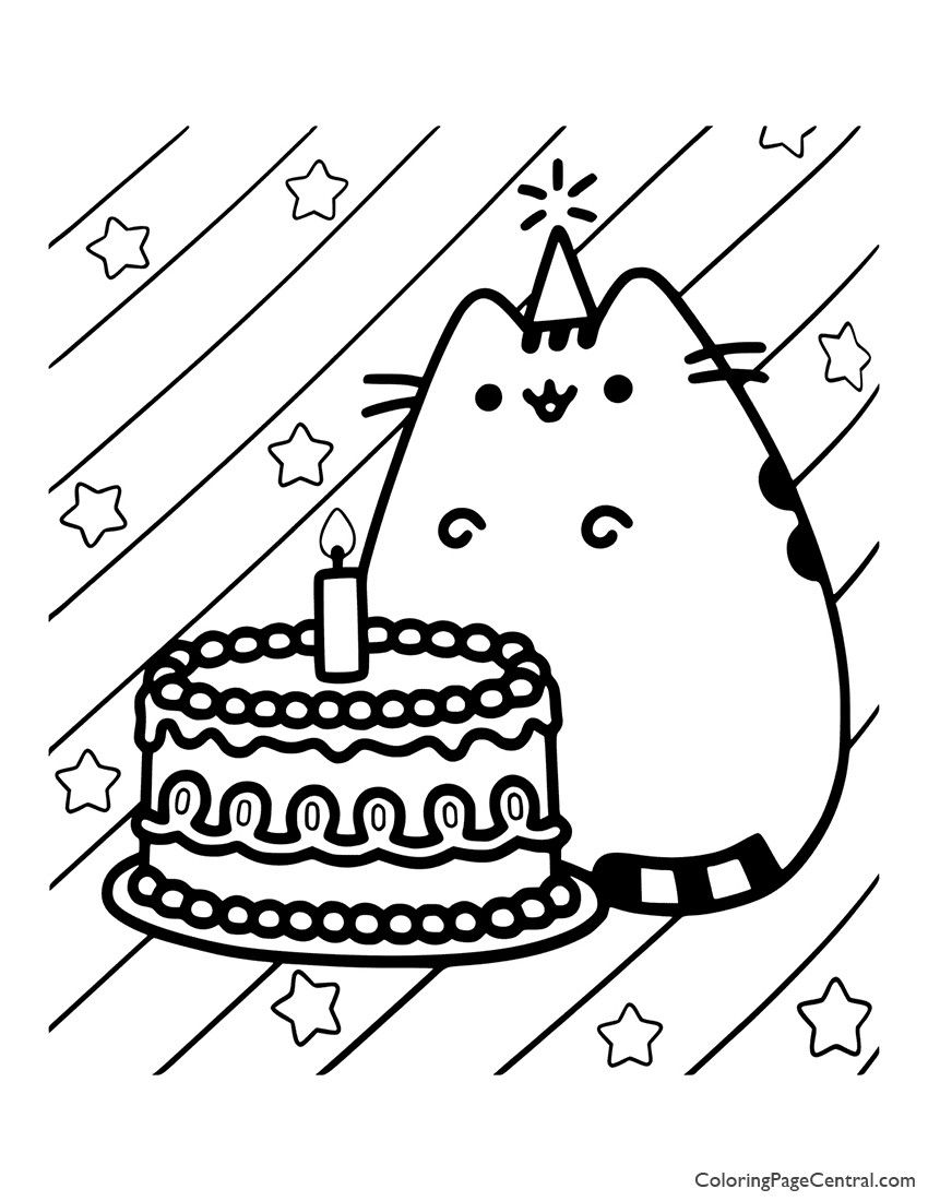 Cat Birthday Coloring Page Youngandtae Com In 2020 Birthday Coloring Pages Pusheen Coloring Pages Pusheen Birthday