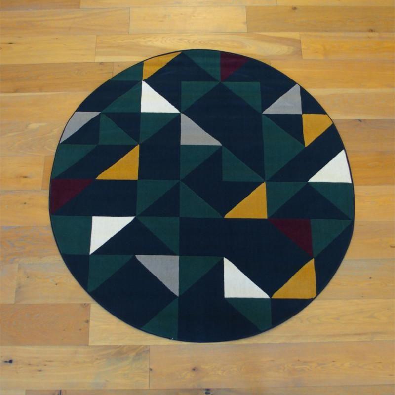 Tapis Rond Triangles Jaune Et Vert Sur Fond Bleu Marine 160cm