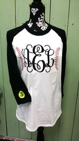 Monogram Baseball/ Softball Ringer T Shirt