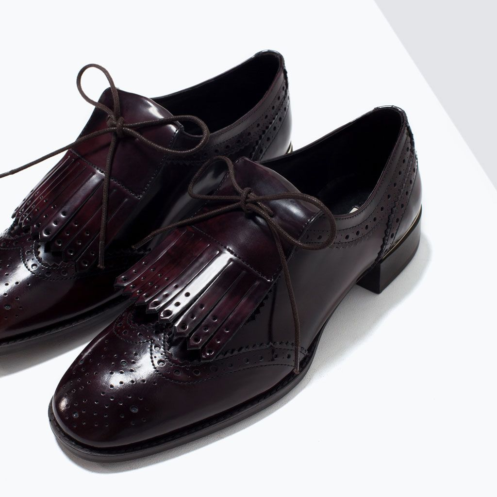 ac45959b8 DERBIES CUIR FRANGES-Chaussures plates-Chaussures-FEMME | ZARA ...