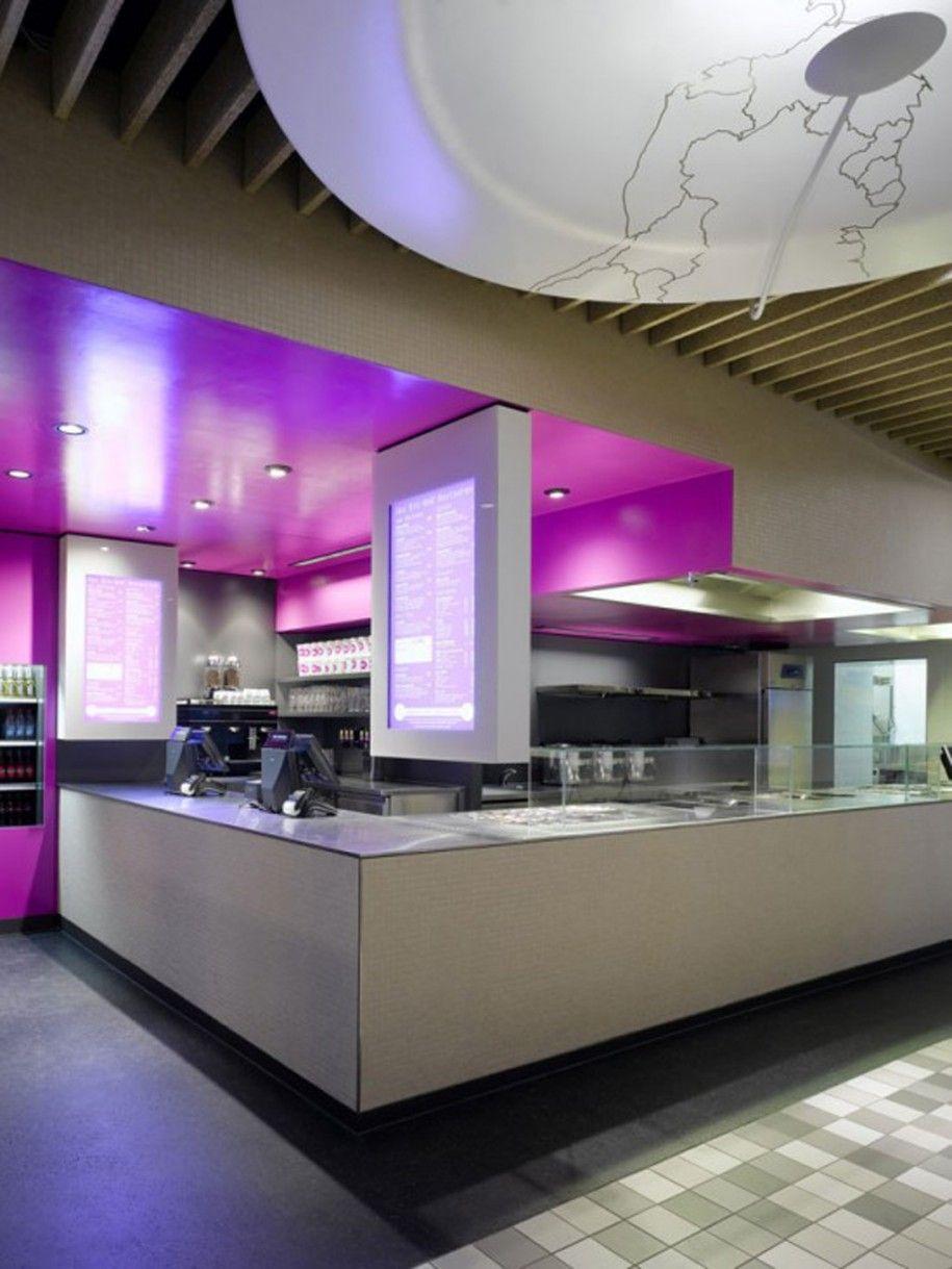 Sleek fast food counter, simple, clean, functional