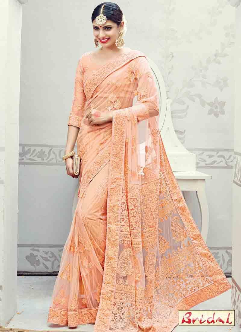 26bc2601c8 beautiful net peach designer saree for wedding bridals in 2017-2018.  #indianfashion #indianwedding #saree #desi #fashion in #peach #sari #sarees  ...