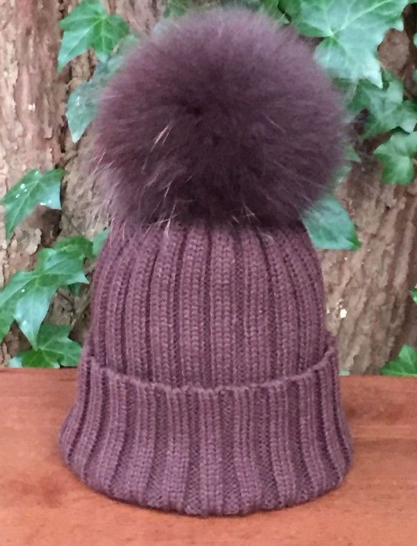 6d5031260f6 Ribbed Bobble Hat with Detachable Fur Pom Pom in Brown