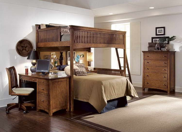 furniture: loft bed with desk chair with wooden dresser drawers