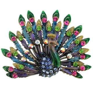 This colorful brooch features a detailed peacock design adorned with colored plating and Swarovski crystals in shades of pink, green and blue. This pretty jewelry is fashioned of antiqued goldtone bas