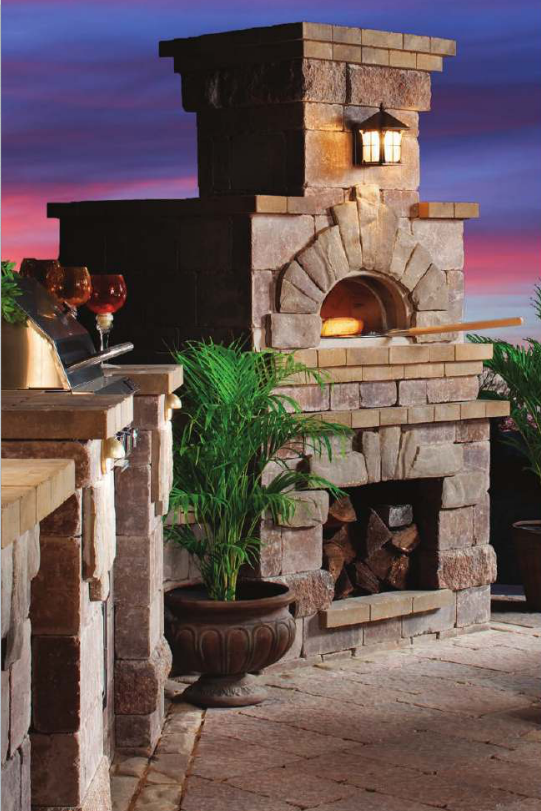 Belgard outdoor wood burning fireplace and brick oven