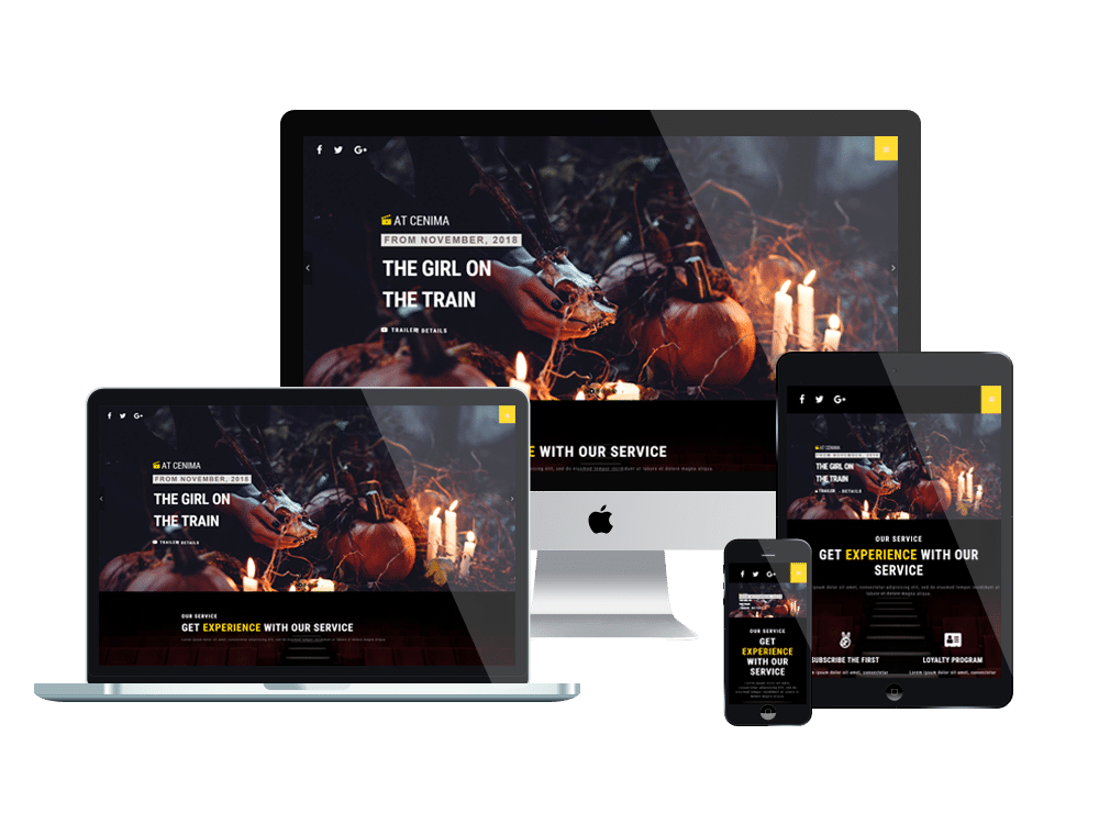 AT Cinema Onepage - Free One Page Movie Theater Website