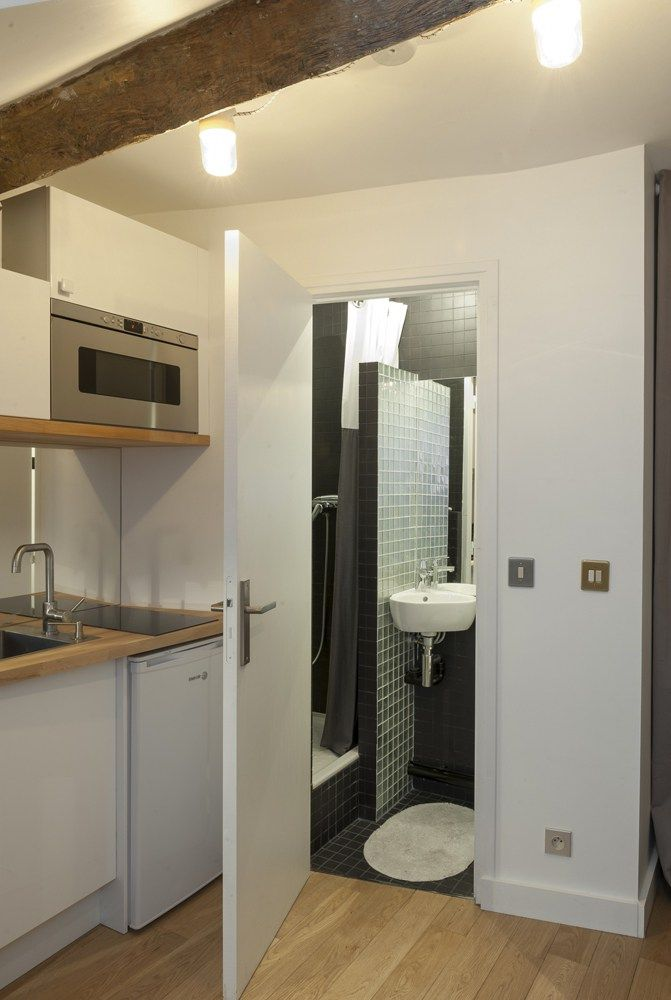 entrée salle de bain studio paris agencement 10m2 décoration
