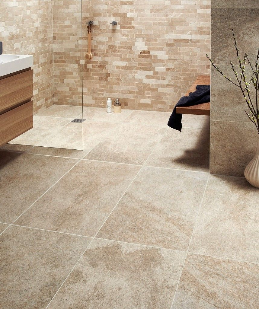 Garden Stone Beige Topps Tiles In Bath Room Bathroom - Beige-stone-bathroom-tiles