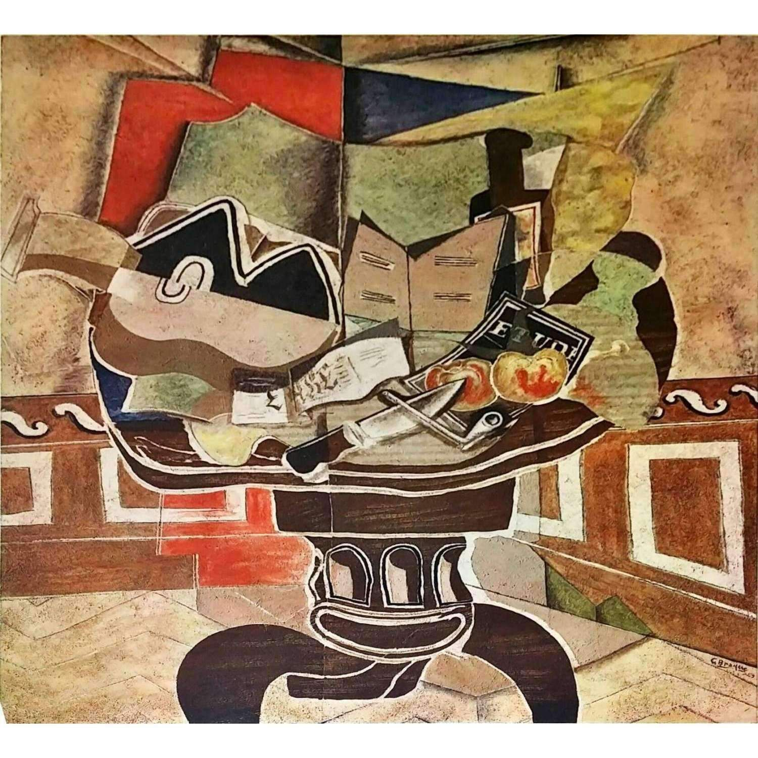 Classic Framed Pablo Picasso Fruit Dish Bottle and Violin Giclee Canvas Print